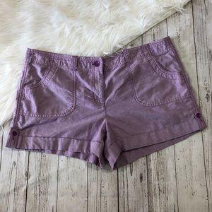 Ann Taylor Loft Womans Purple Shorts Size 16
